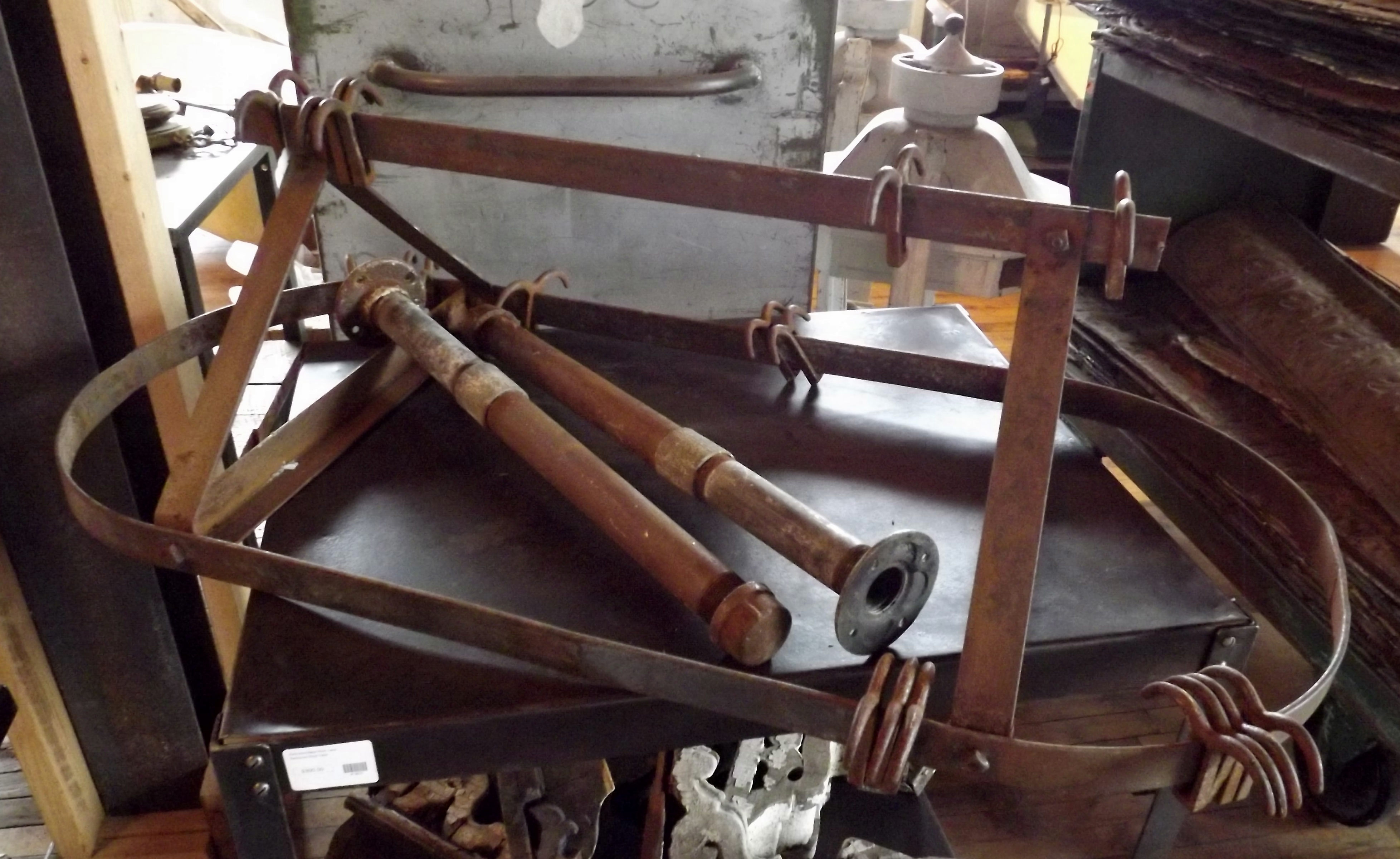 Antique hanging pot rack salvage one for Reclaimed wood pot rack