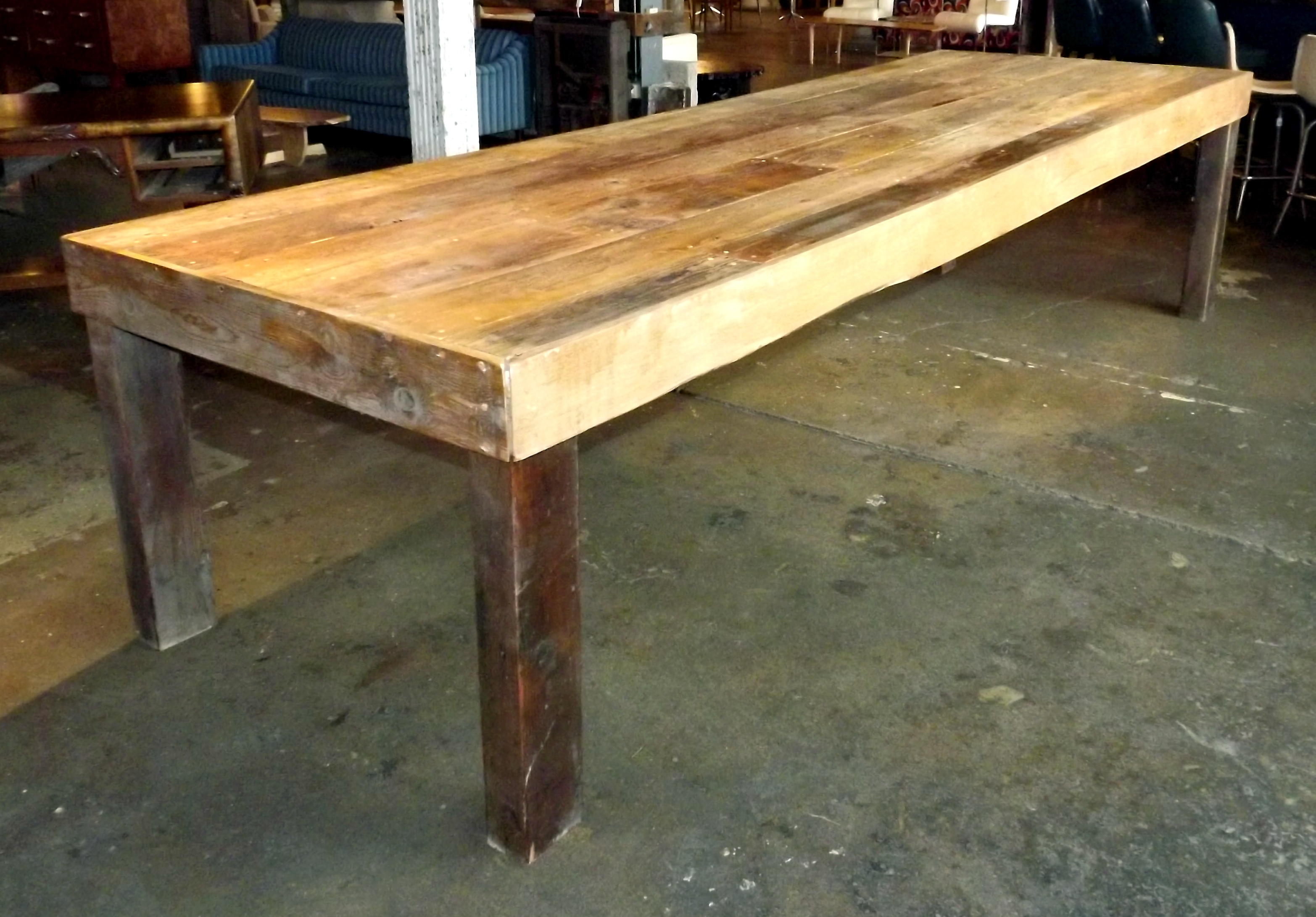Custom old growth yellow pine farmhouse table salvage one for Yellow farmhouse table
