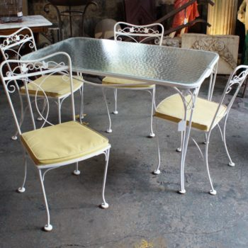 Vintage Patio Table W Glass Top And 4 Yellow Seat Chairs