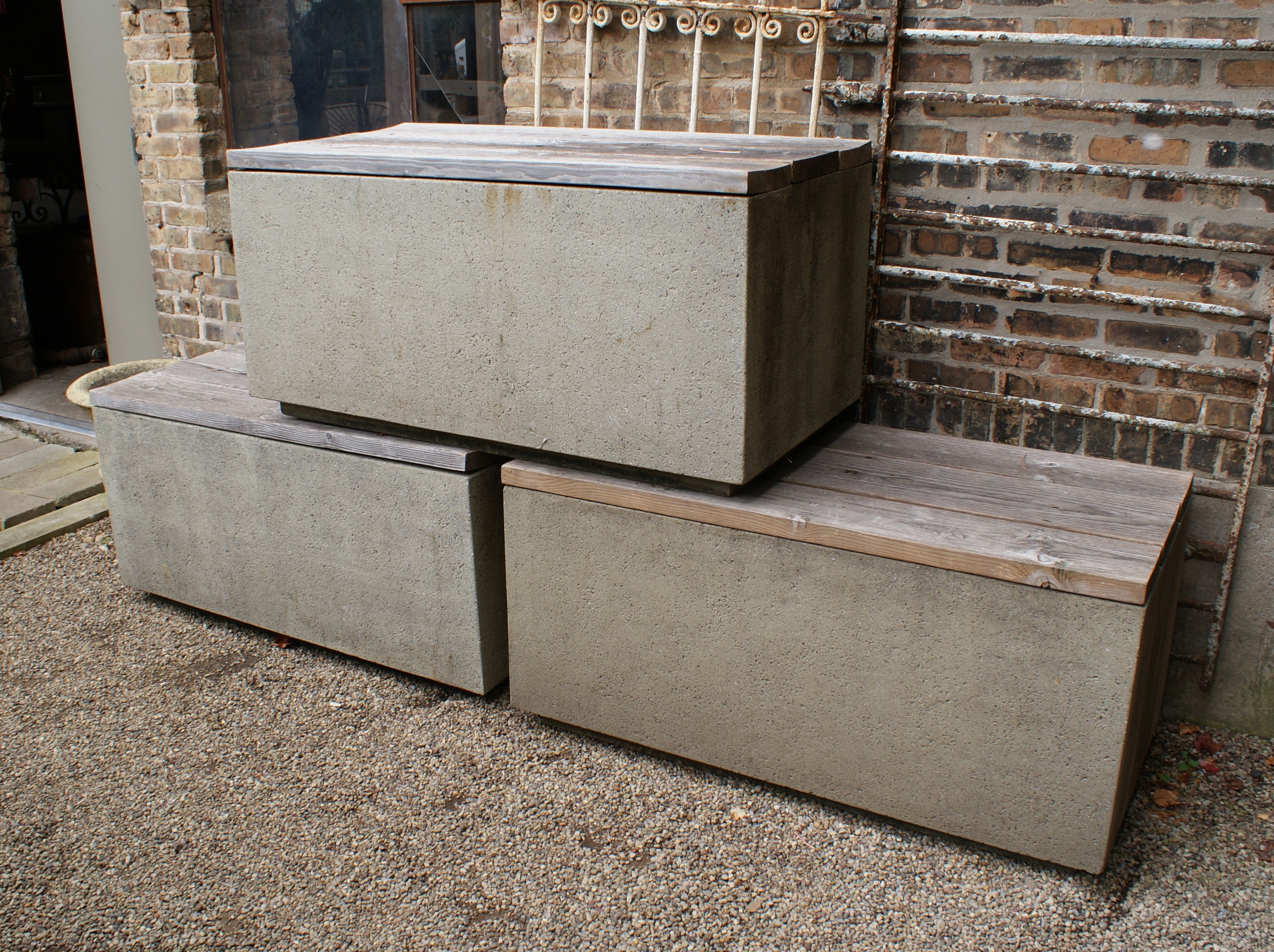 Faux Concrete Outdoor Planter Bench Table Salvage One