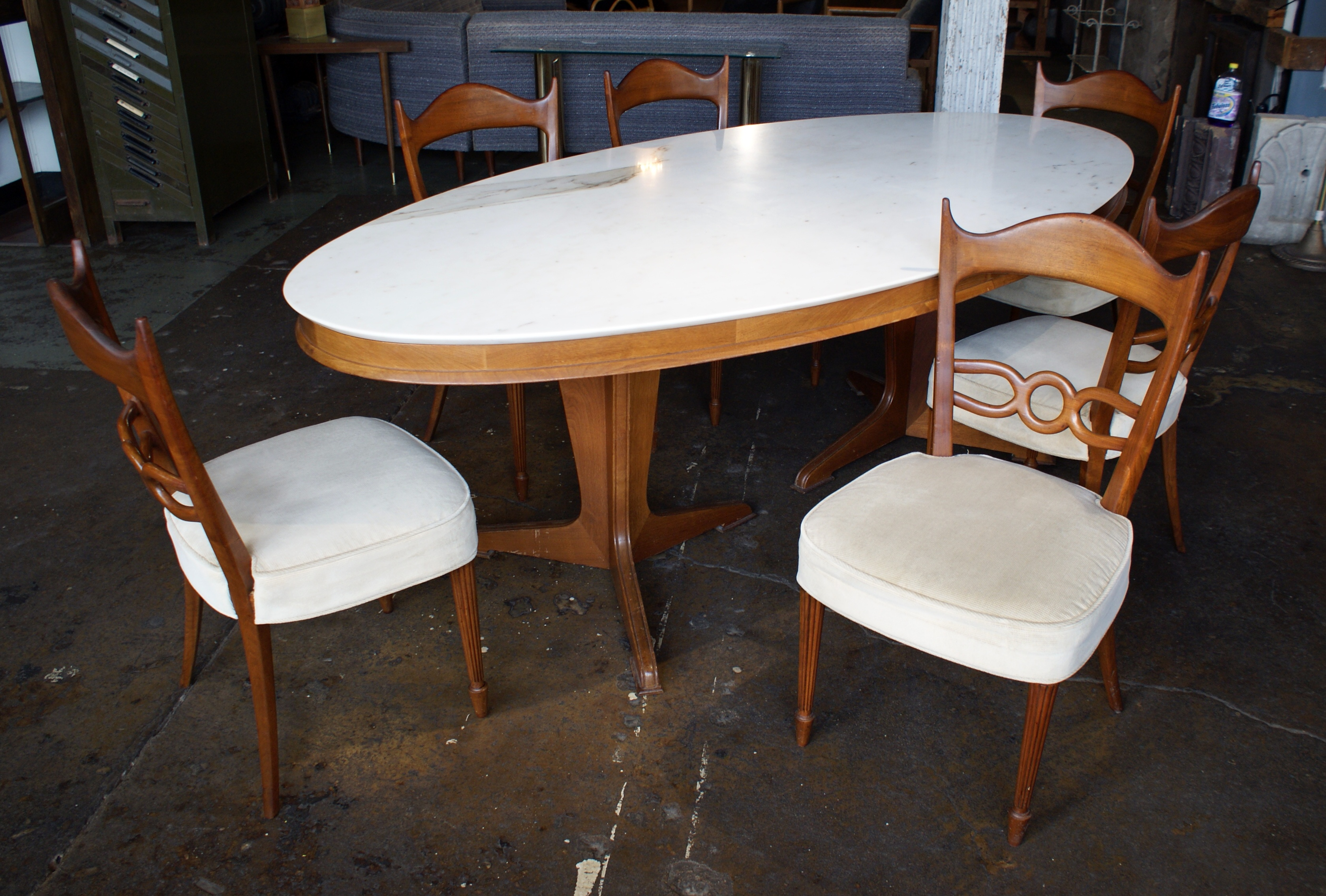 Custom italian marble top oval dining table w 6 chairs for Custom made marble dining tables