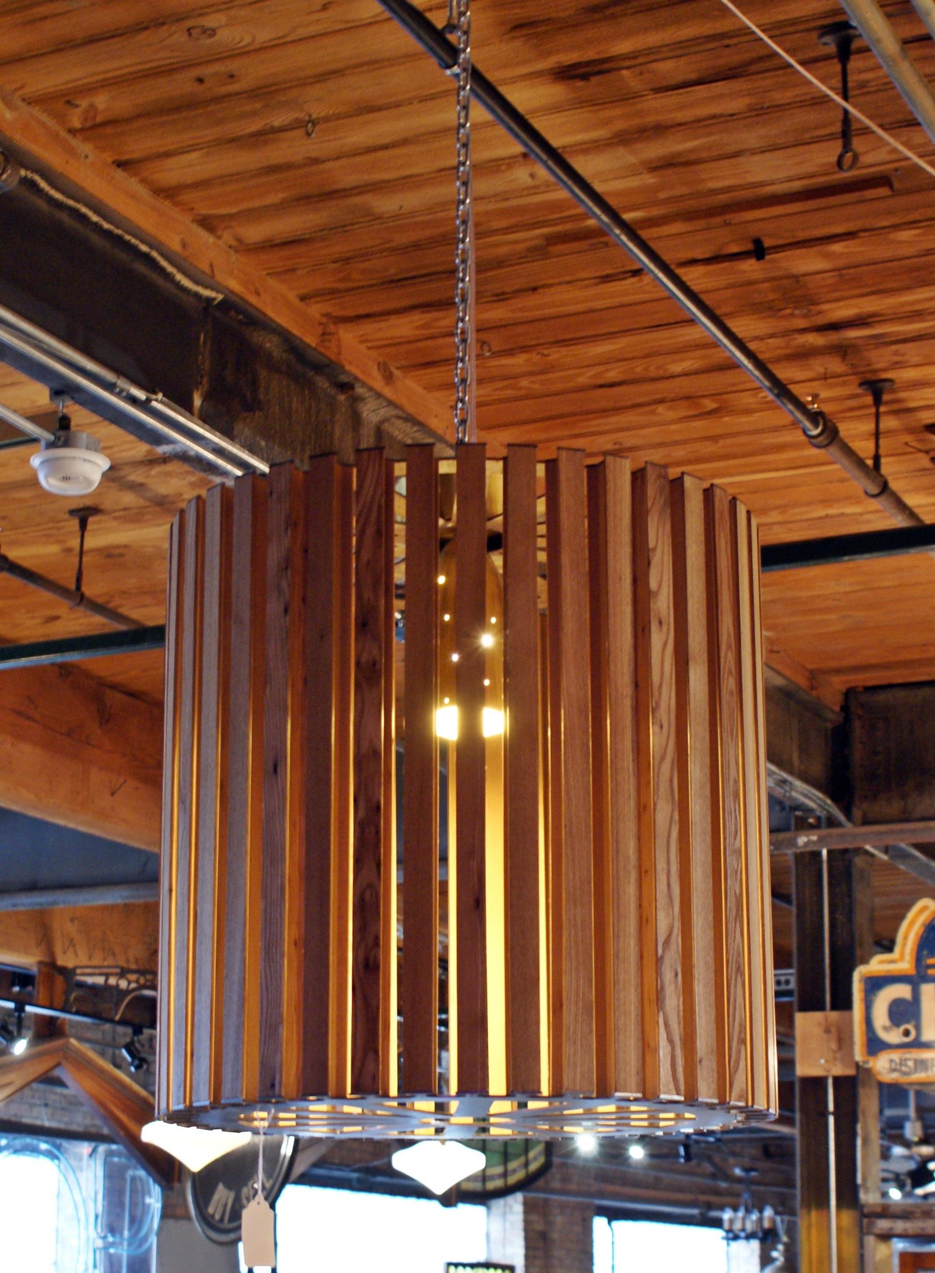 Custom Wood Steel and Brass Chandelier – Salvage e