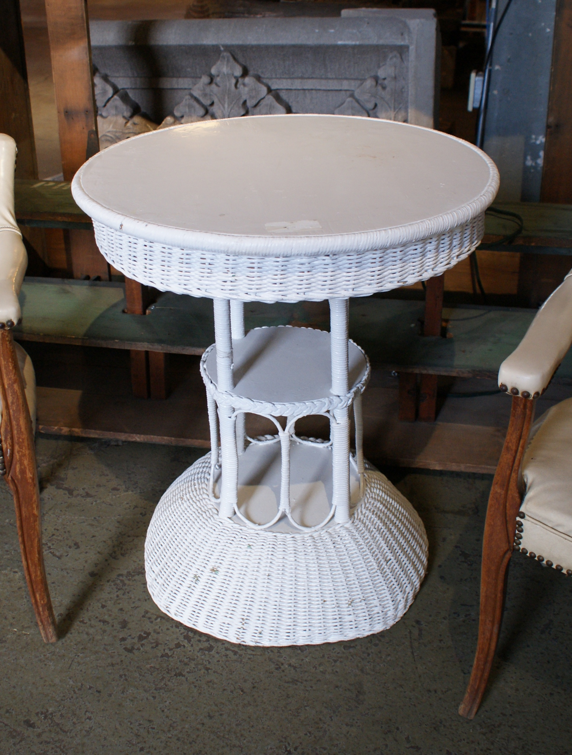 Antique white wicker cocktail table salvage one White wicker coffee table