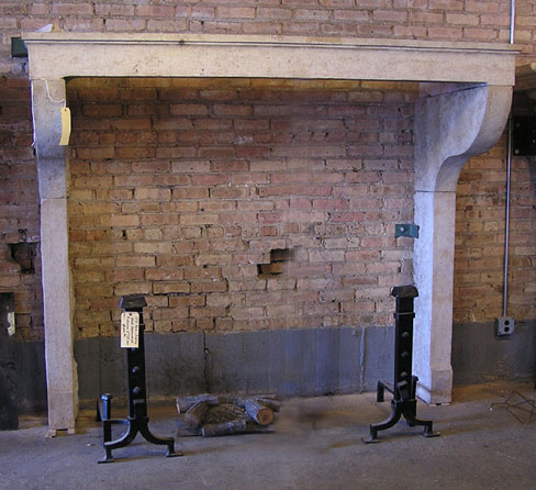Cantilevered Limestone Fireplace Mantel