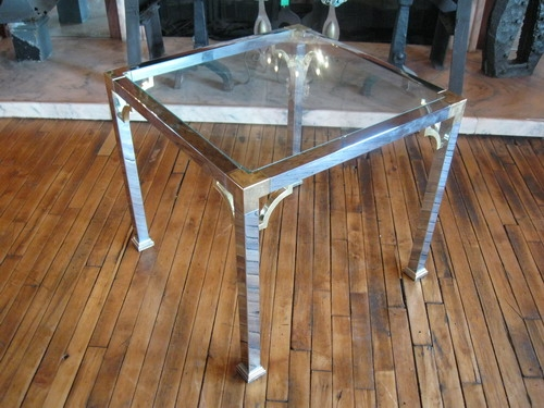 Glass Brass End Table Salvage One