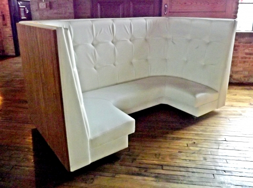 Tall White Vinyl Banquette – Salvage One on
