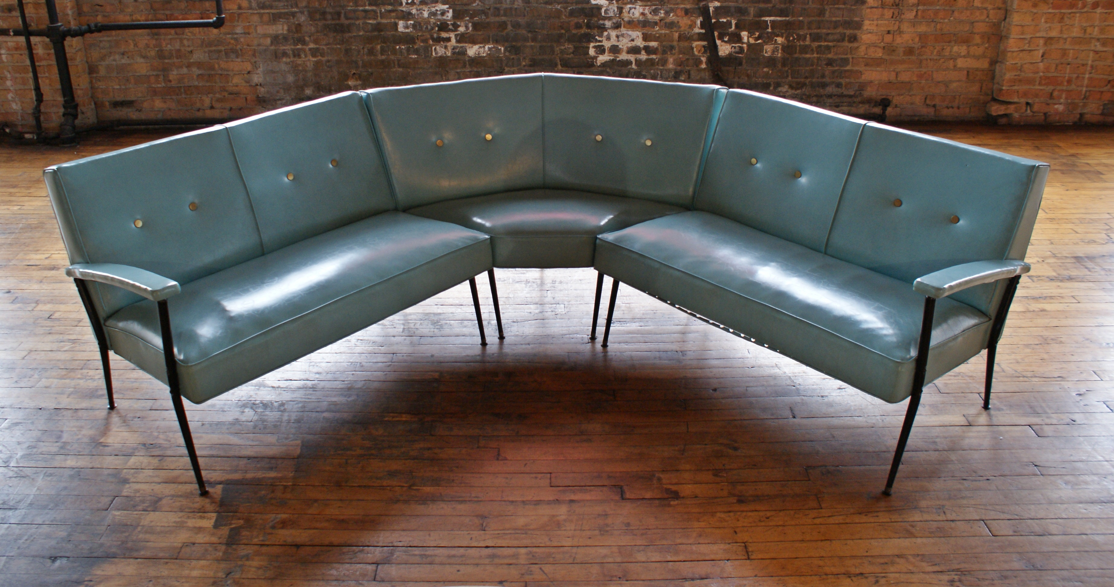 MCM Turquoise Vinyl Sectional Sofa W Brass Buttons