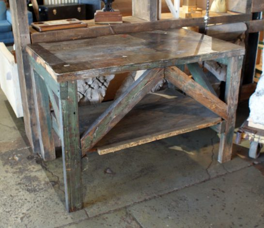 Small Industrial Wood Work Table
