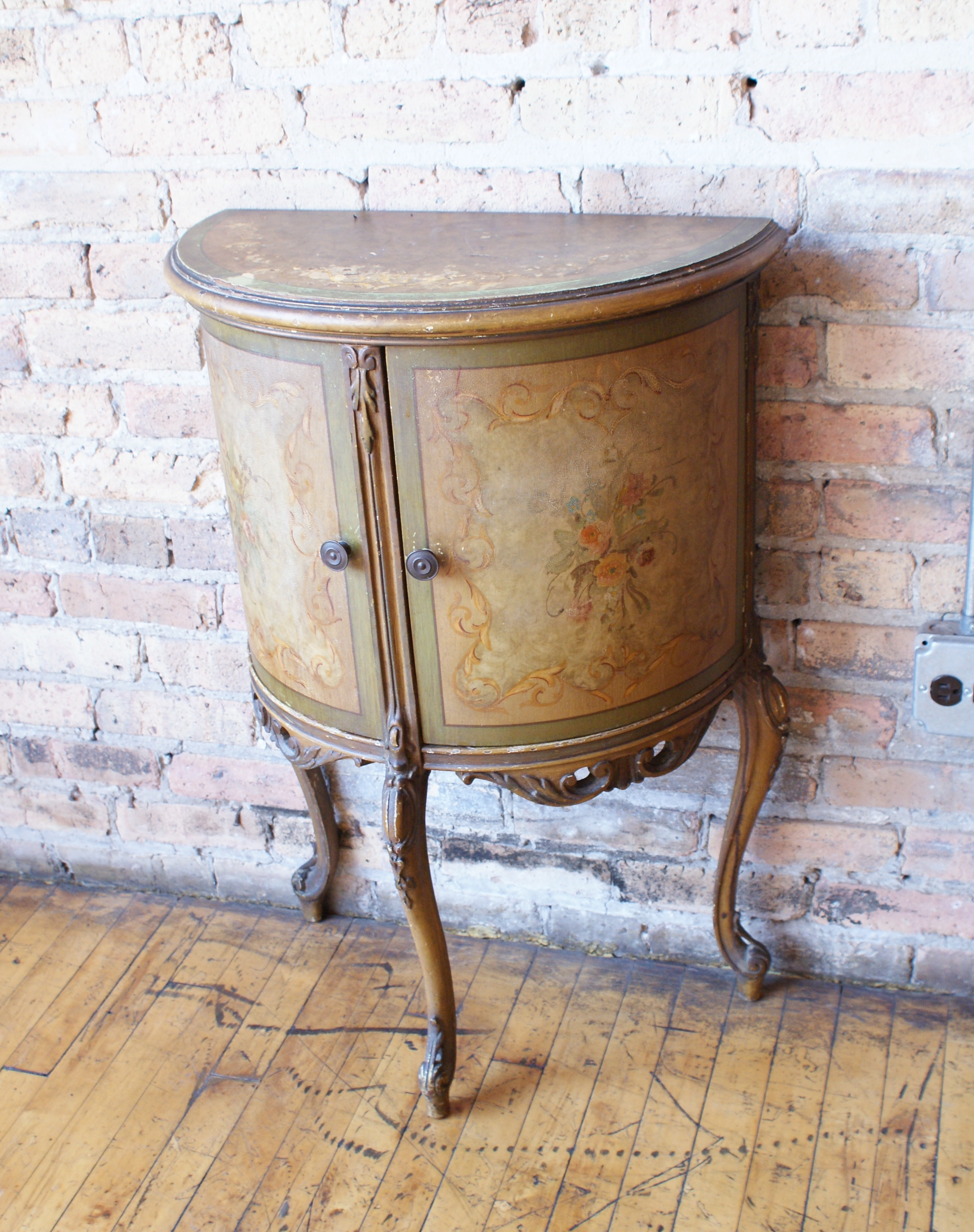 Half Rond Side Table.Half Circle Side Table Pair Salvage One
