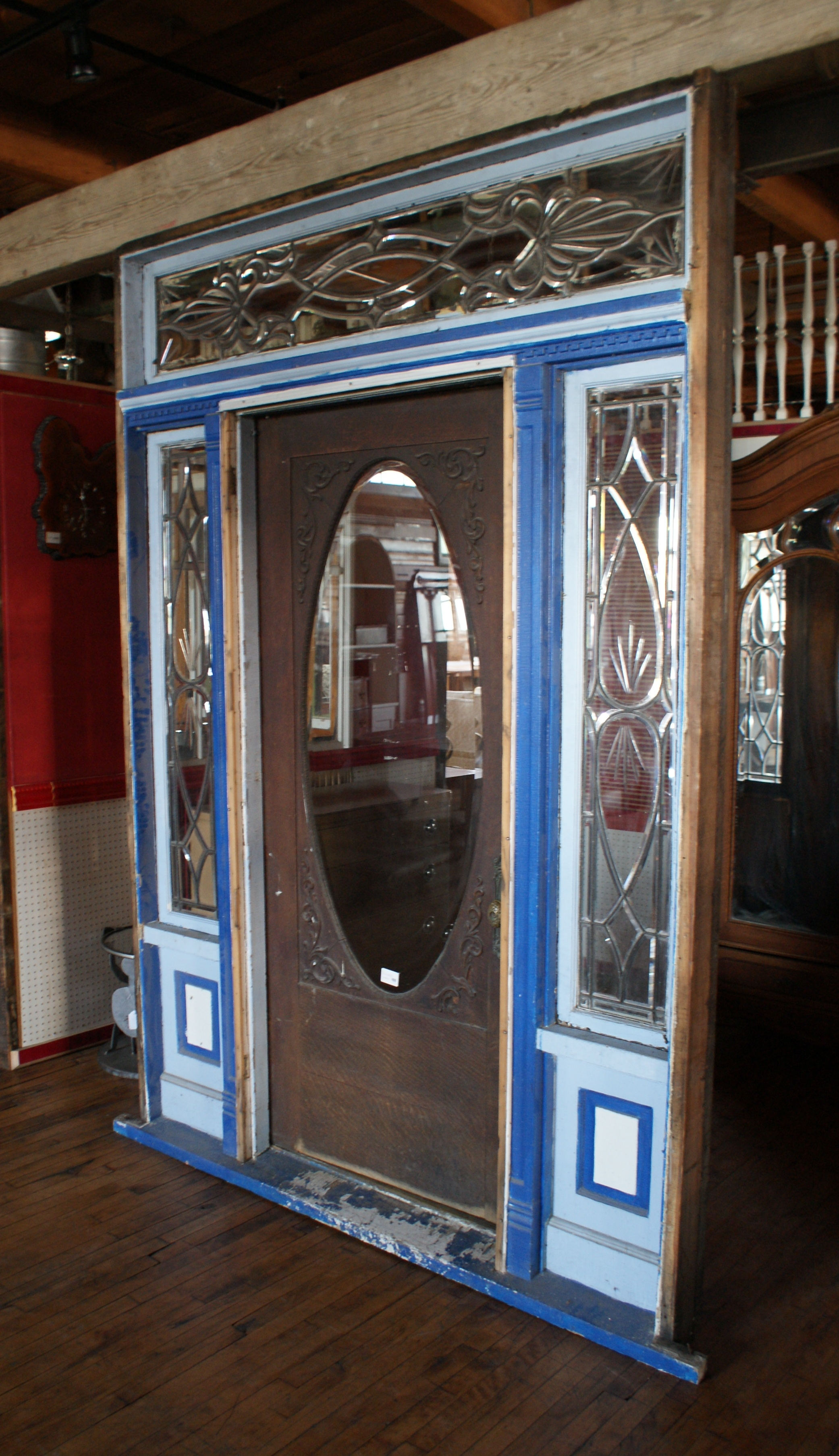 Front Door Unit W Leaded Windows And Oval Window