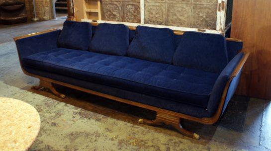 Navy Blue Hollywood Regency Sofa W Claw Feet Salvage One