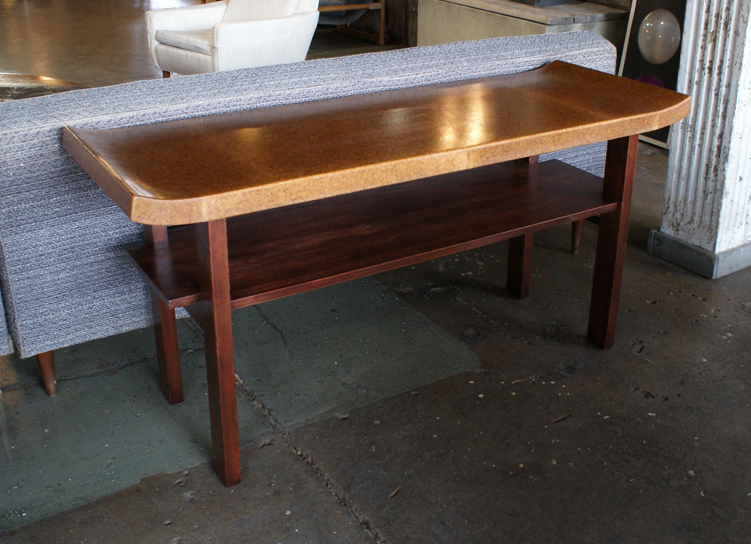 Home Furniture Tables Desks Refinished Cork Top Sofa Table By Paul Frankl