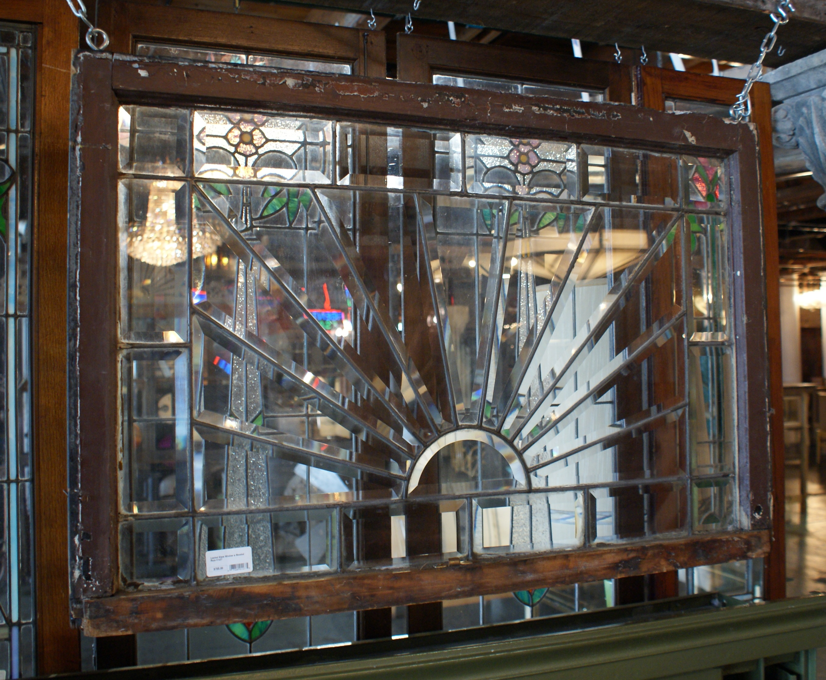 Leaded Glass Window W Beveled Rays Salvage One