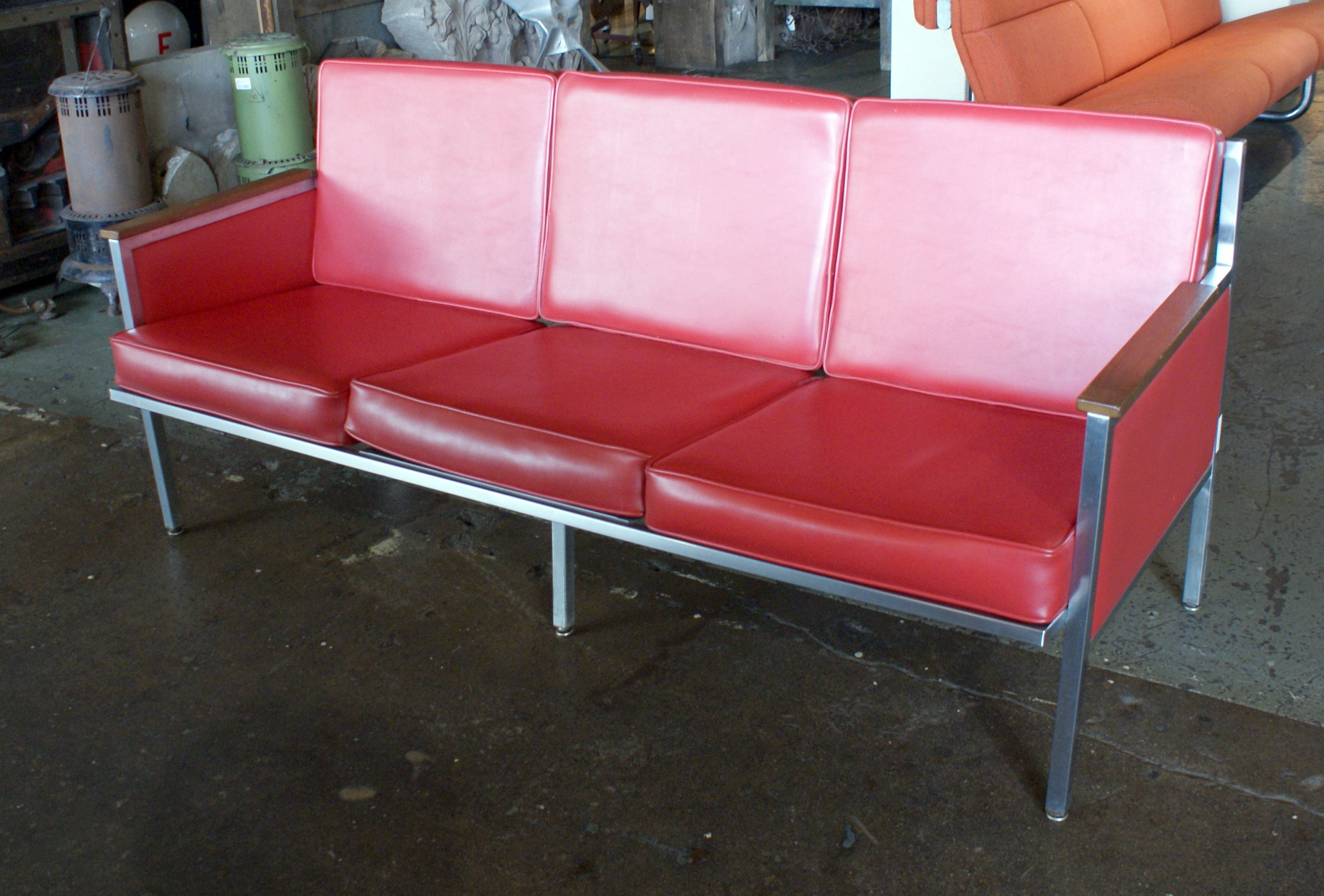 Steelcase Style Red Vinyl Sofa
