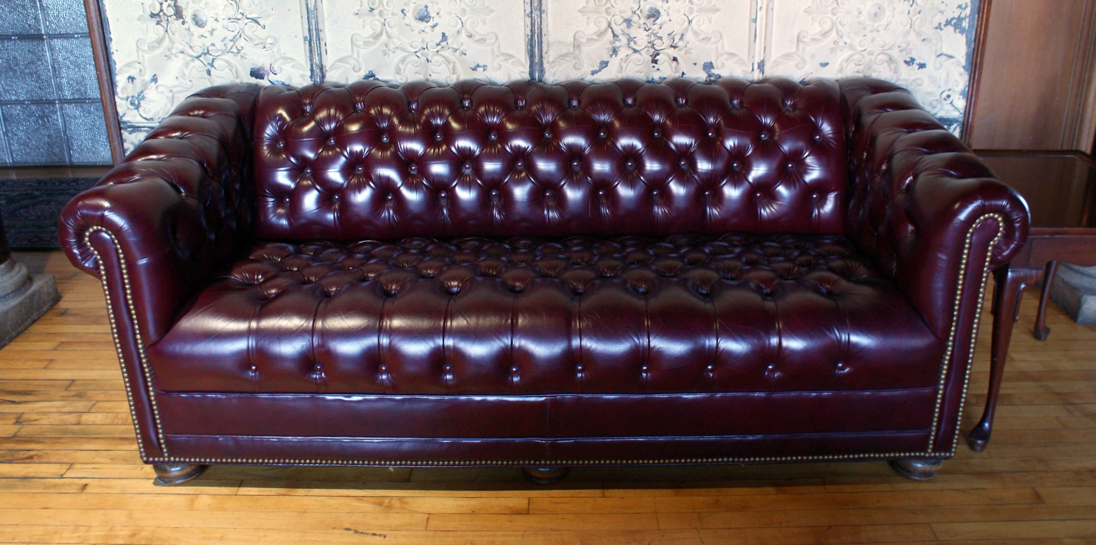 Black Leather Chesterfield Sofa – Salvage One