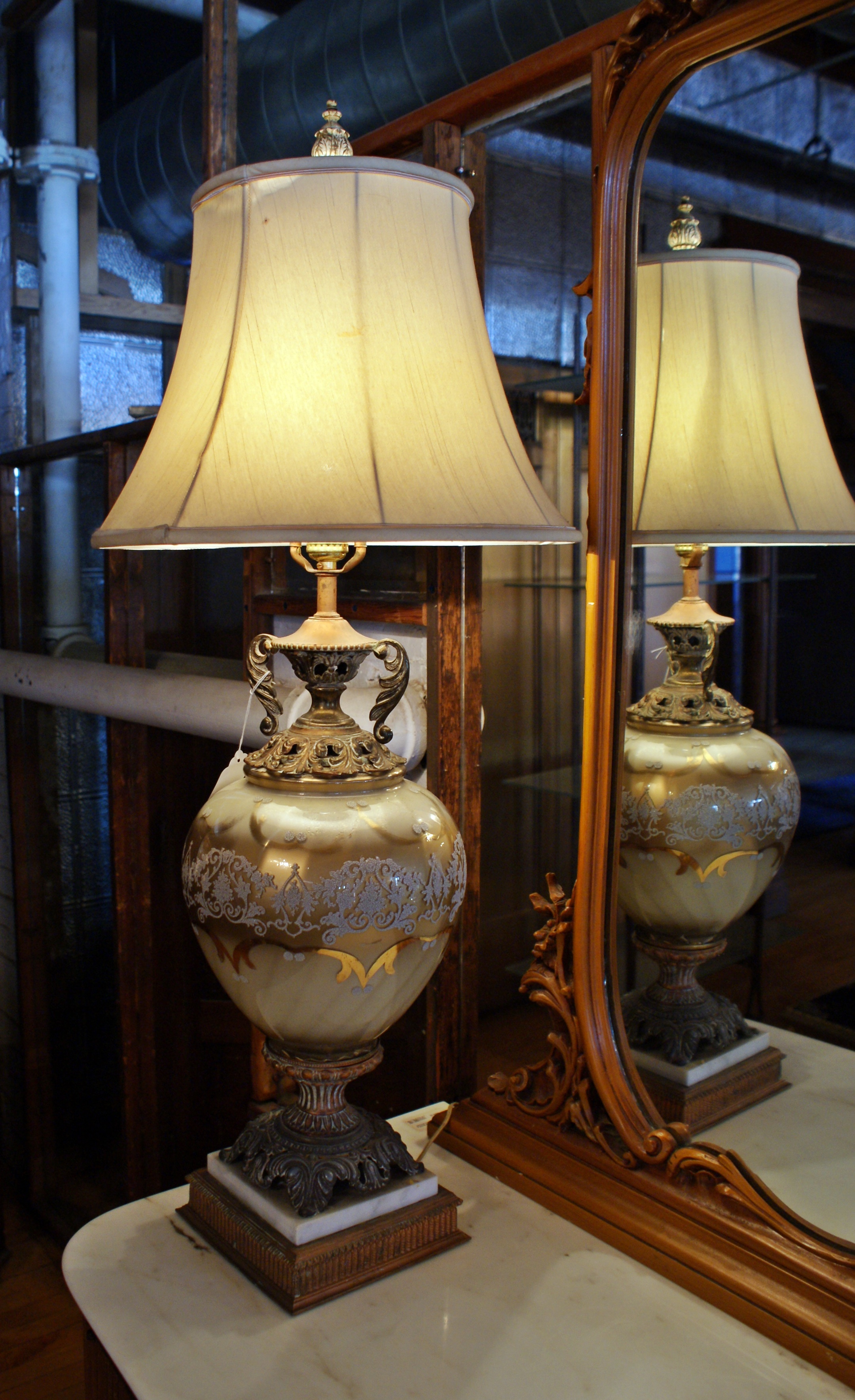 French provincial table lamp pair salvage one aloadofball Image collections
