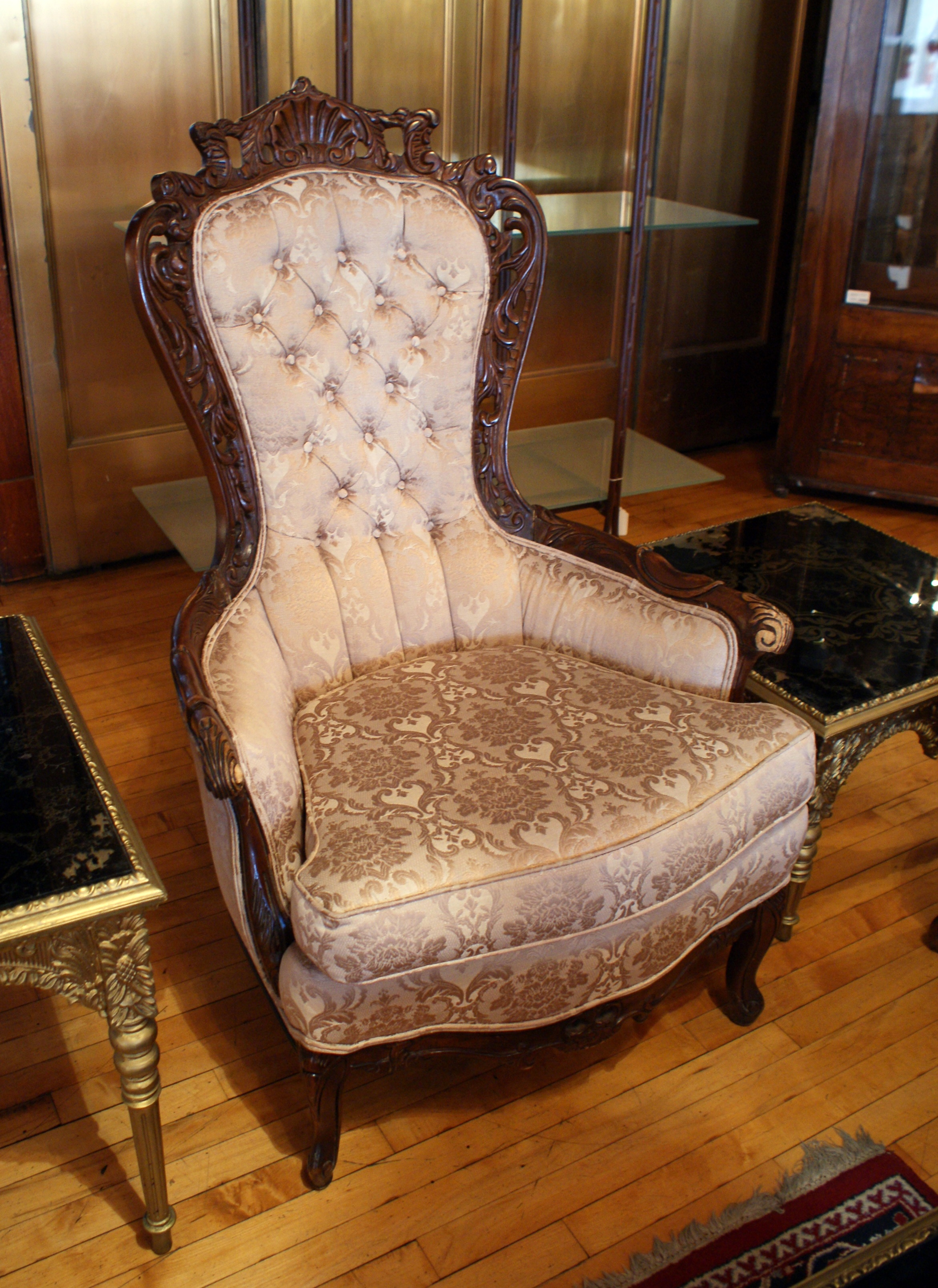 French Provincial Chair >> French Provincial Arm Chair W Carved Back Salvage One