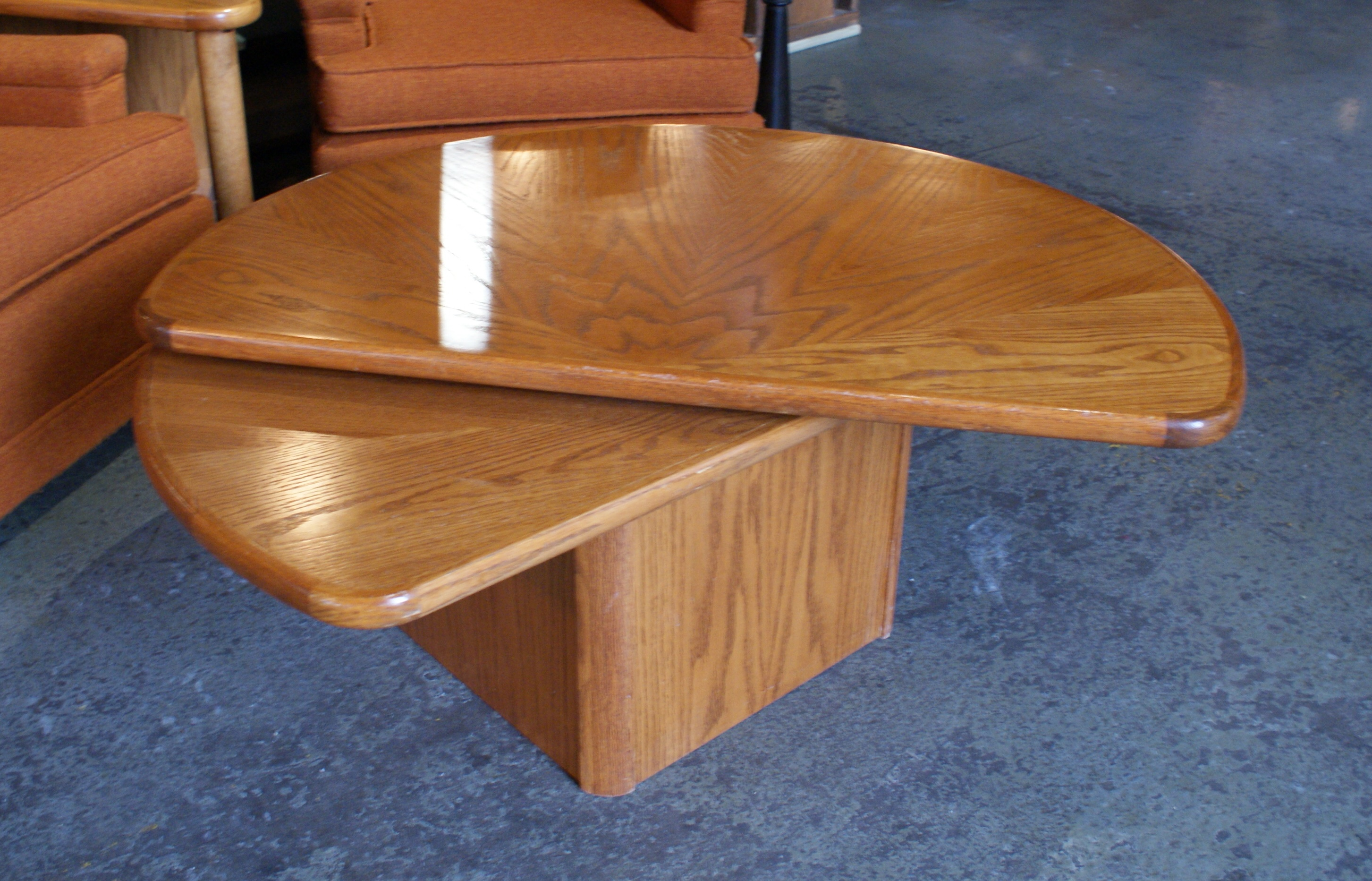 Oak Lazy Susan Semi Circle Coffee Table
