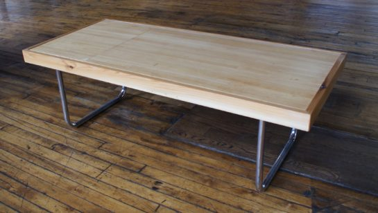 Custom Bowling Alley Lane Coffee Table W Tube Steel Legs