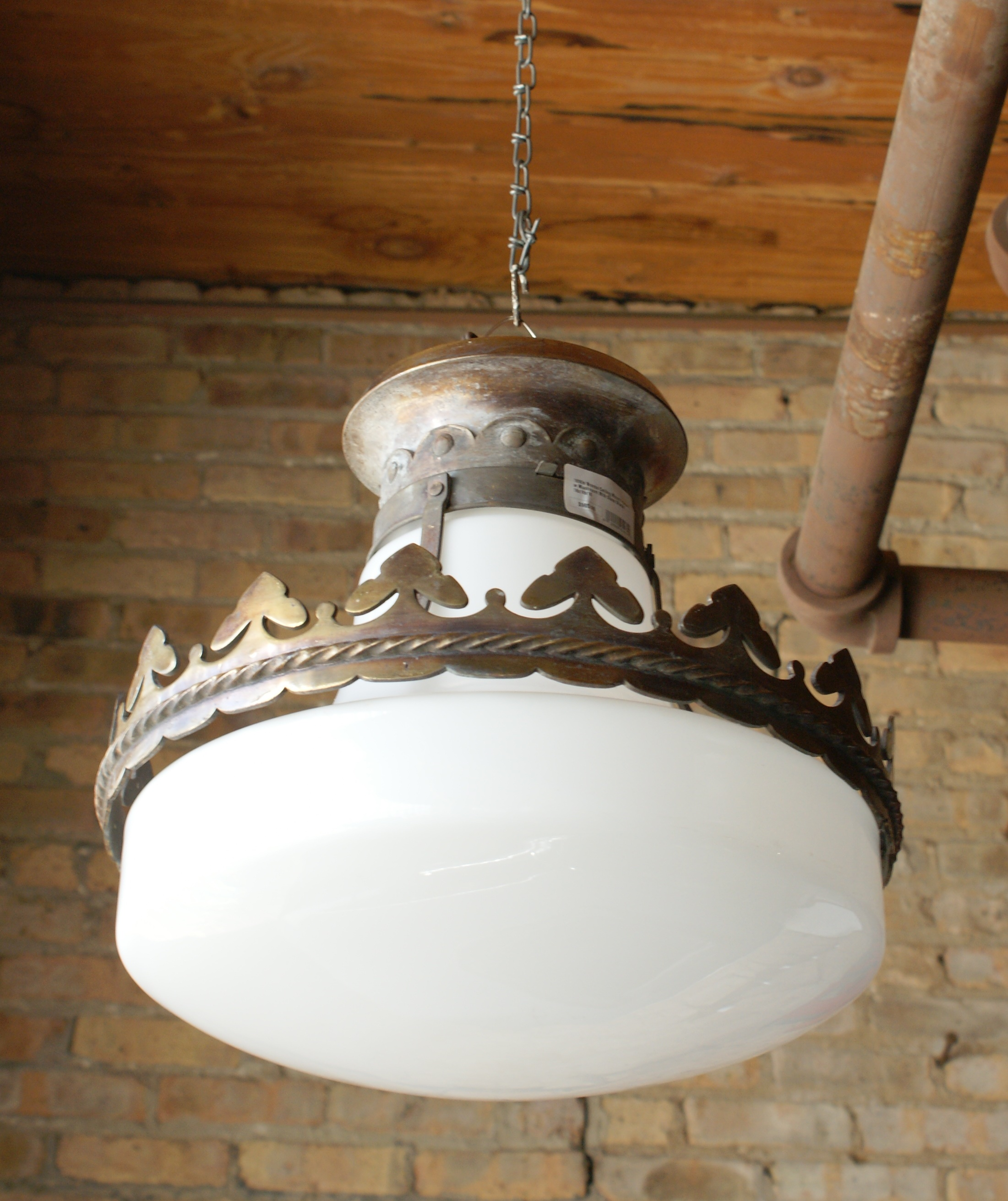 Home lighting hanging 1890s bronze ceiling mount fixture w mushroom milk glass shade