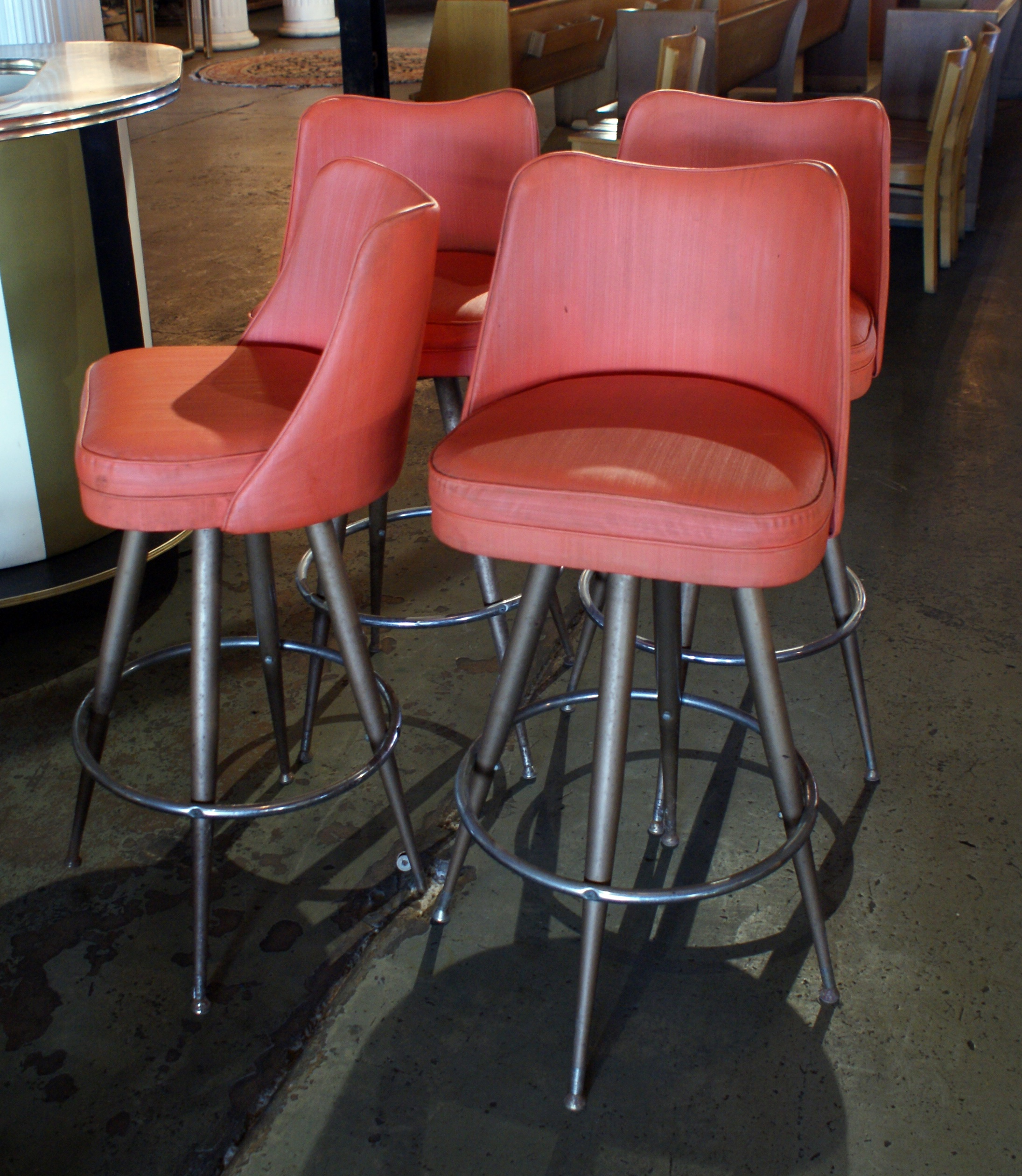 Vintage Orange Vinyl Swivel Bar Stool Salvage One