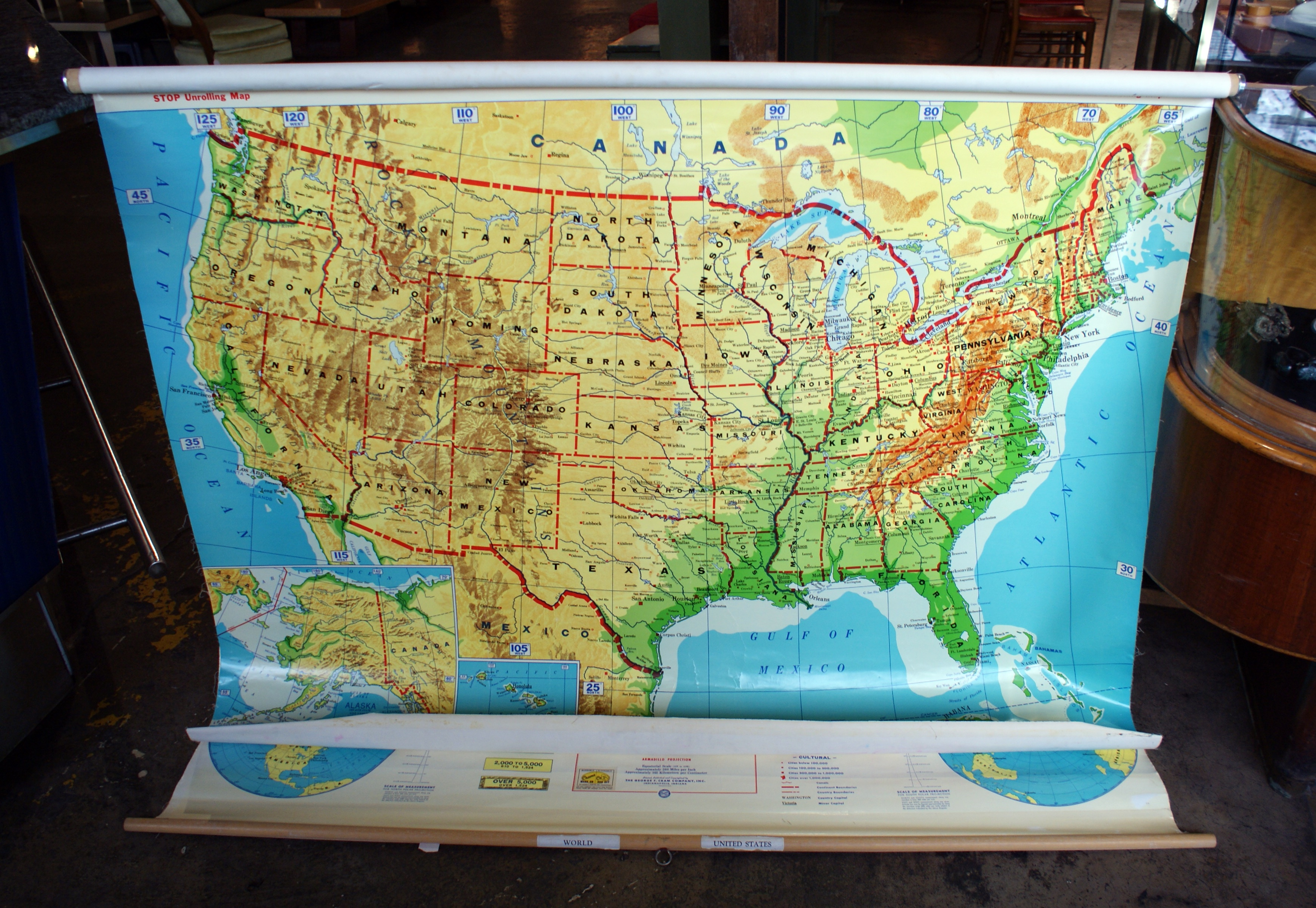 Vintage Cram S Pull Down Usa World Map Salvage One