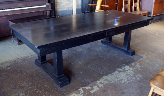 Black Painted Antique 2 Drawer Library Table