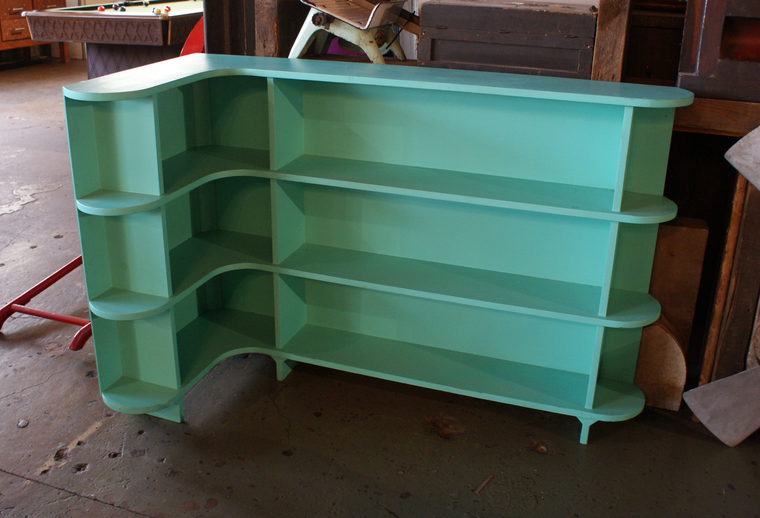 buy popular 6c4b1 323ee Custom Turquoise Corner Bookshelf – Salvage One