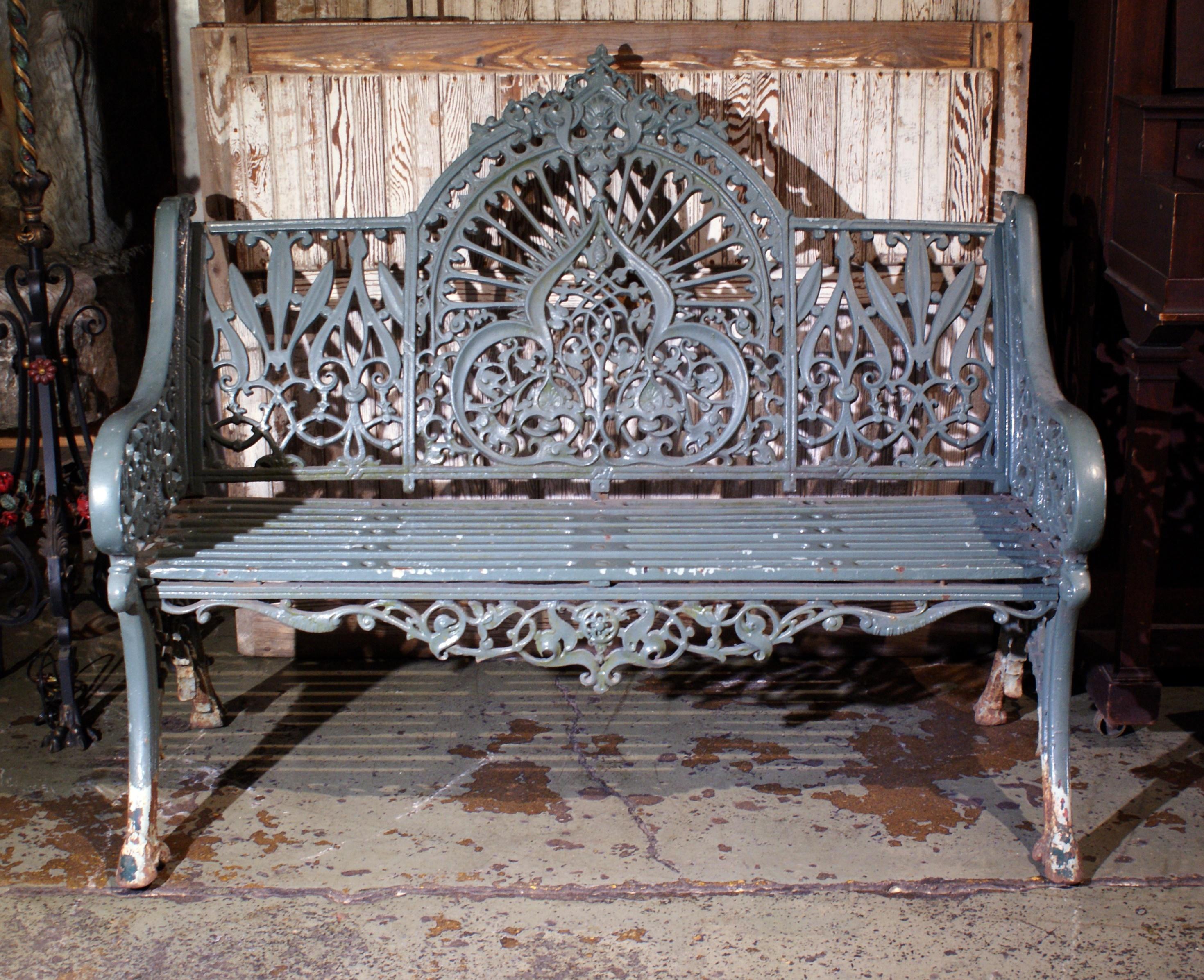 Heavy Victorian Decorative Iron Garden Bench