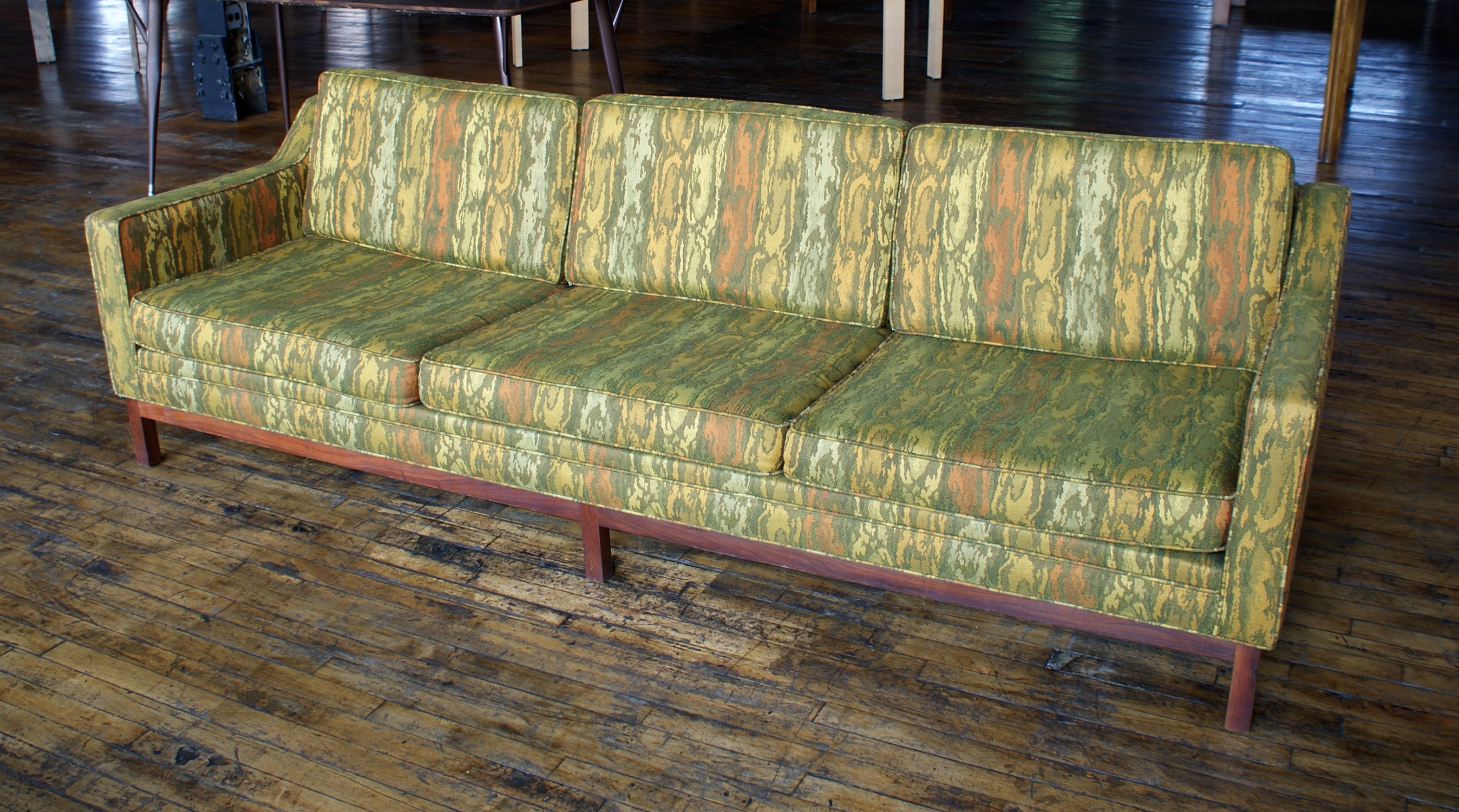 Mcm Olive Patterned Sofa Salvage One