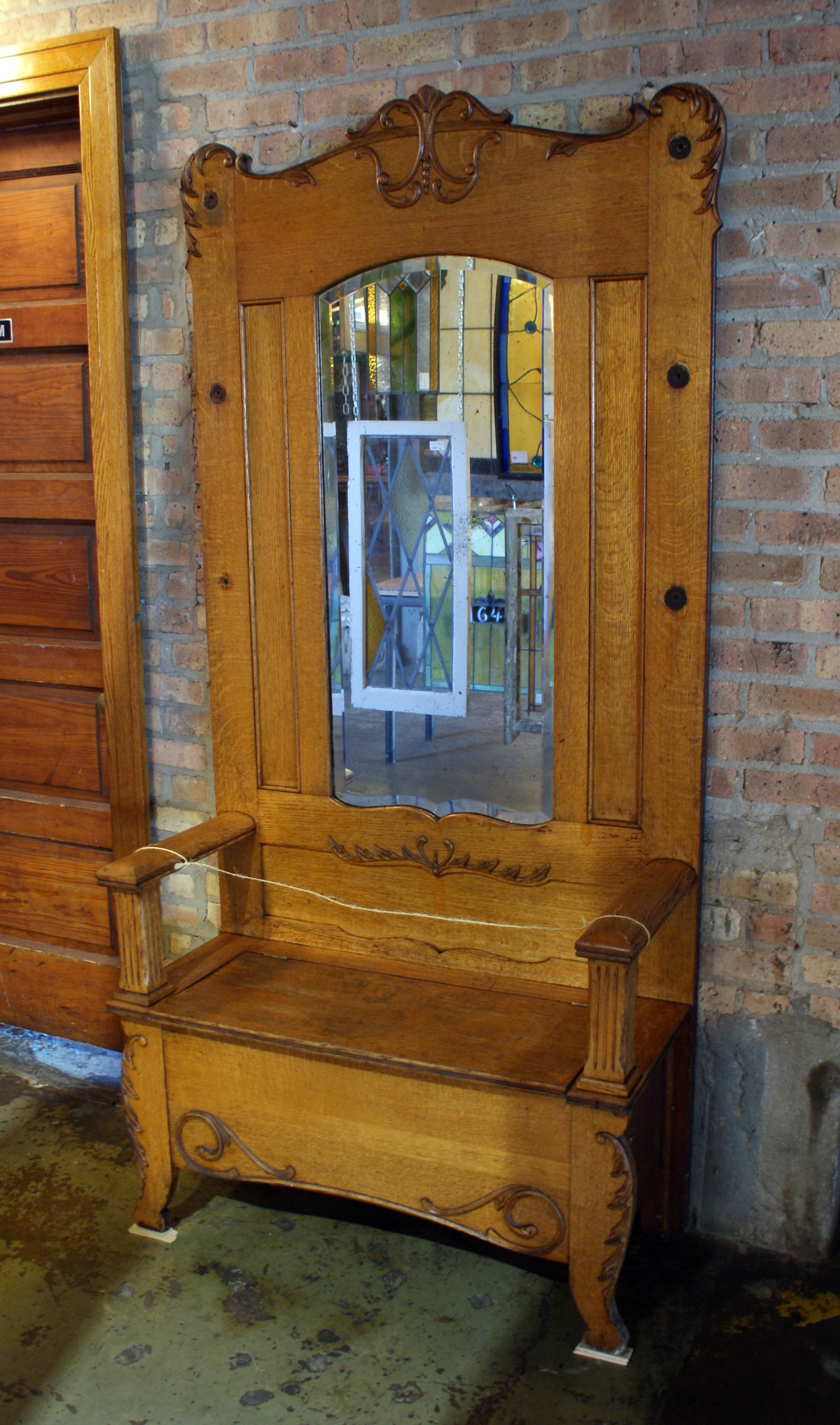 Swell Antique Hall Bench W Mirror And Storage Theyellowbook Wood Chair Design Ideas Theyellowbookinfo