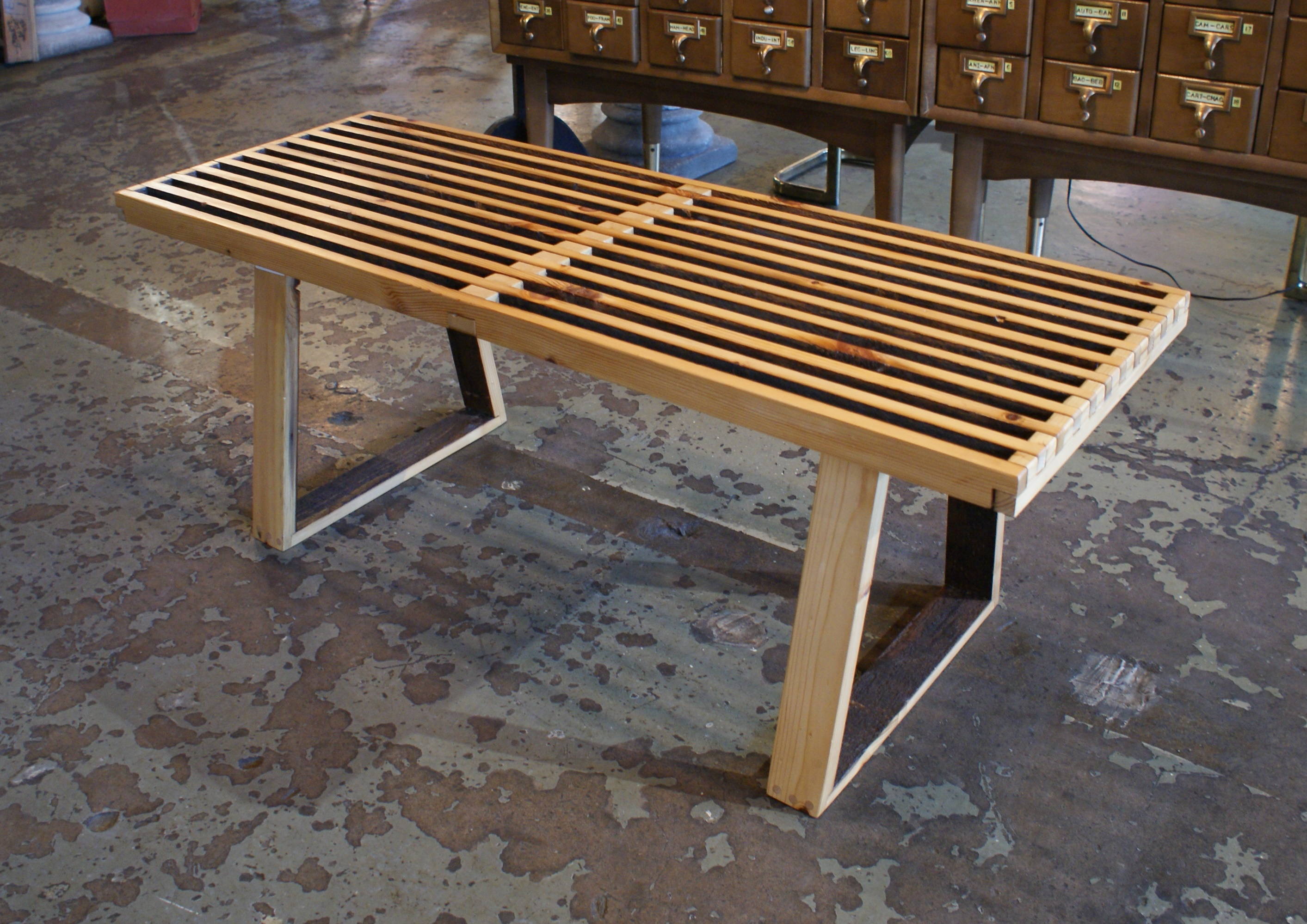 Awesome Custom George Nelson Style Old Growth Slat Bench Theyellowbook Wood Chair Design Ideas Theyellowbookinfo