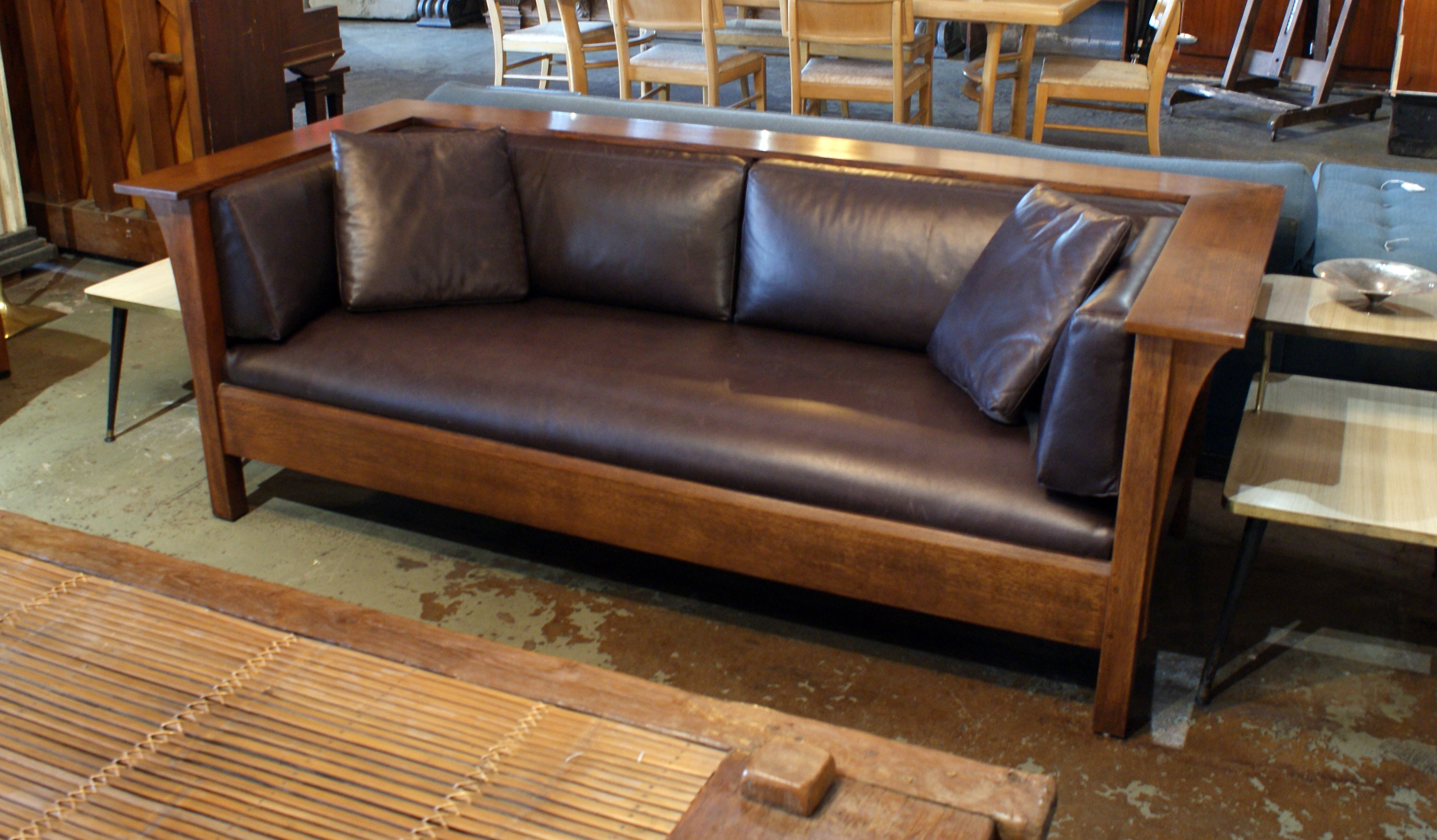 Tremendous Stickley Mission Sofa W Black Leather Salvage One Gmtry Best Dining Table And Chair Ideas Images Gmtryco