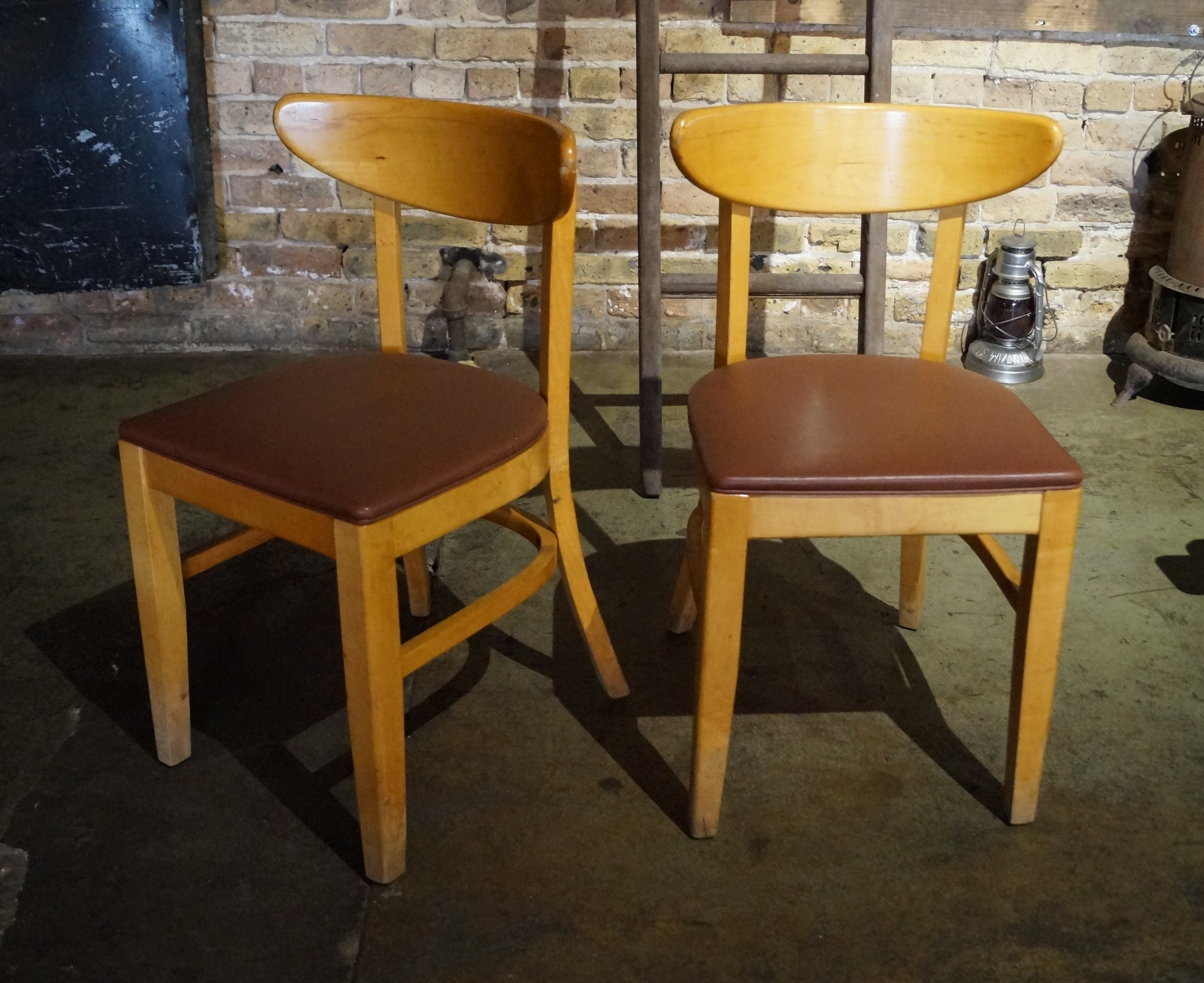 Vintage Wrap Back Dining Chair By Bianco W Brown Vinyl Seat