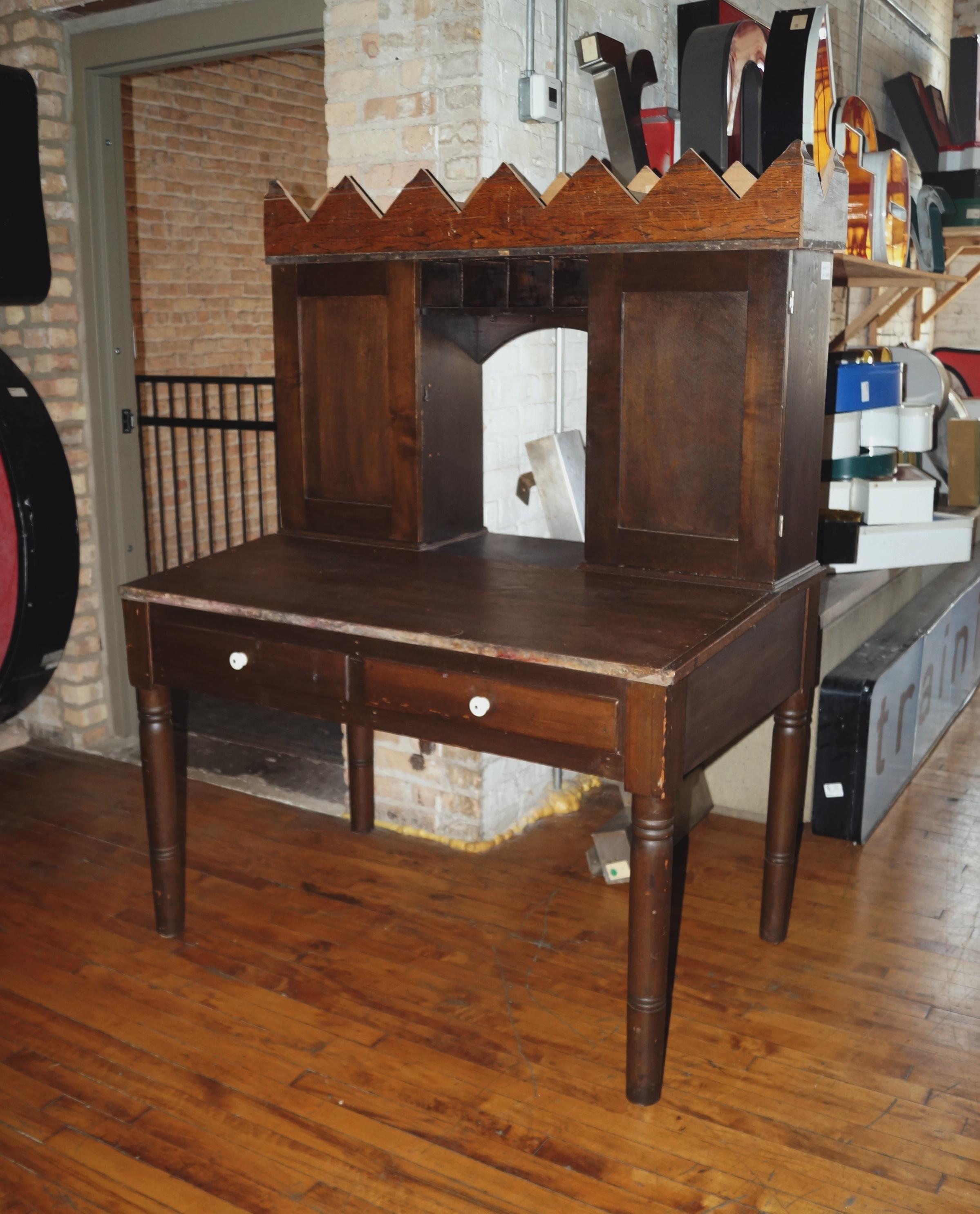 Antique Furniture Supplies Mail: Antique Wood Writing Mail Desk W Cubbies