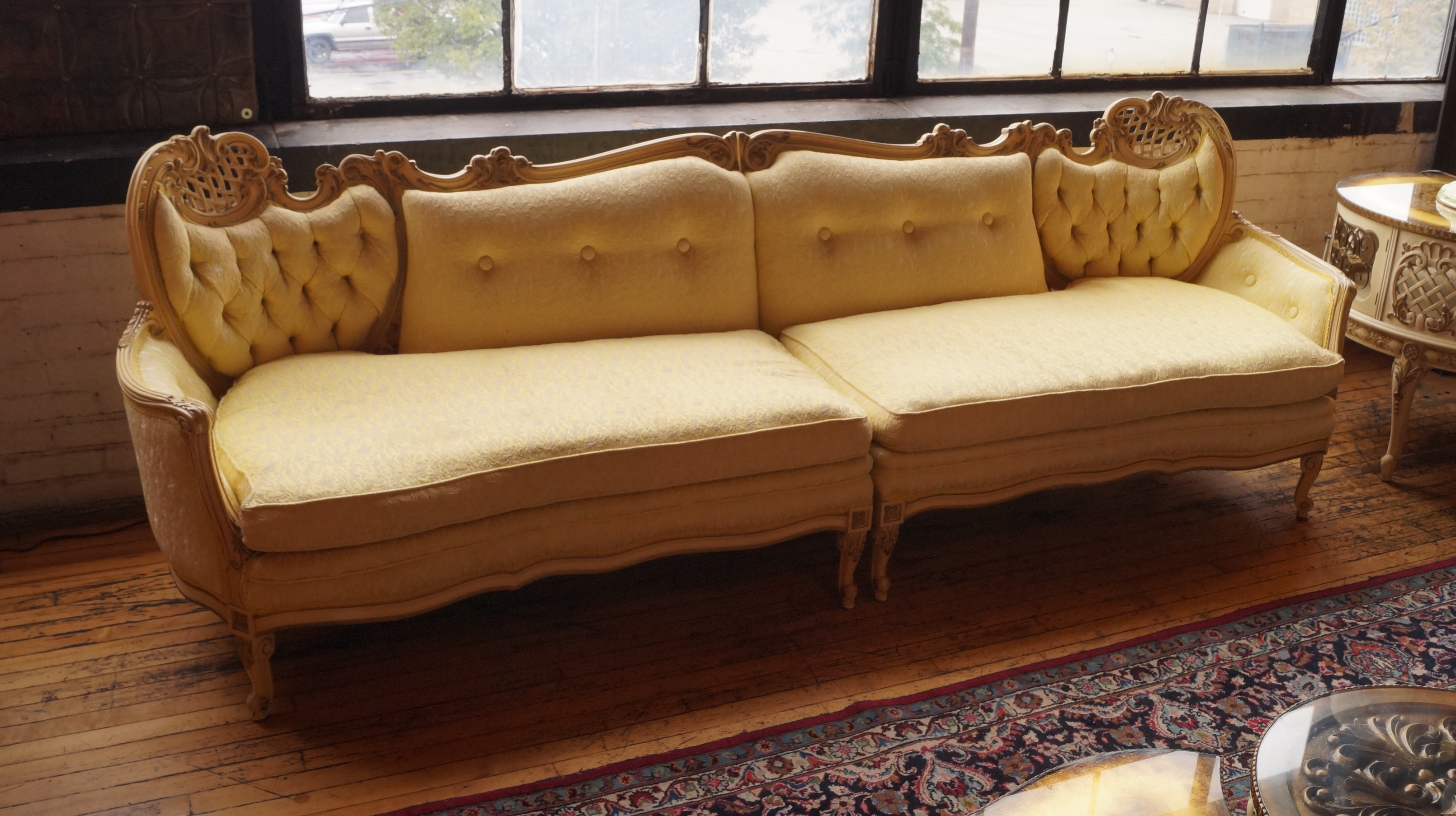 Picture of: Vintage French Provincial Carved Frame Yellow 2pc Sofa Salvage One