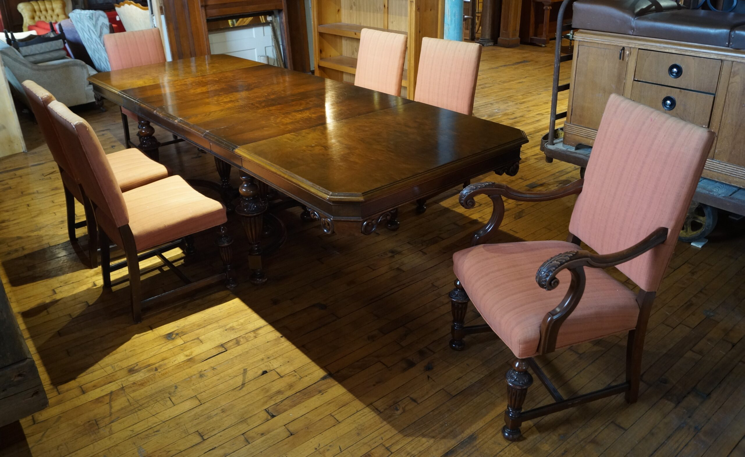 Antique Dining Table W 5 12in Leaves And 6 Chairs Salvage One