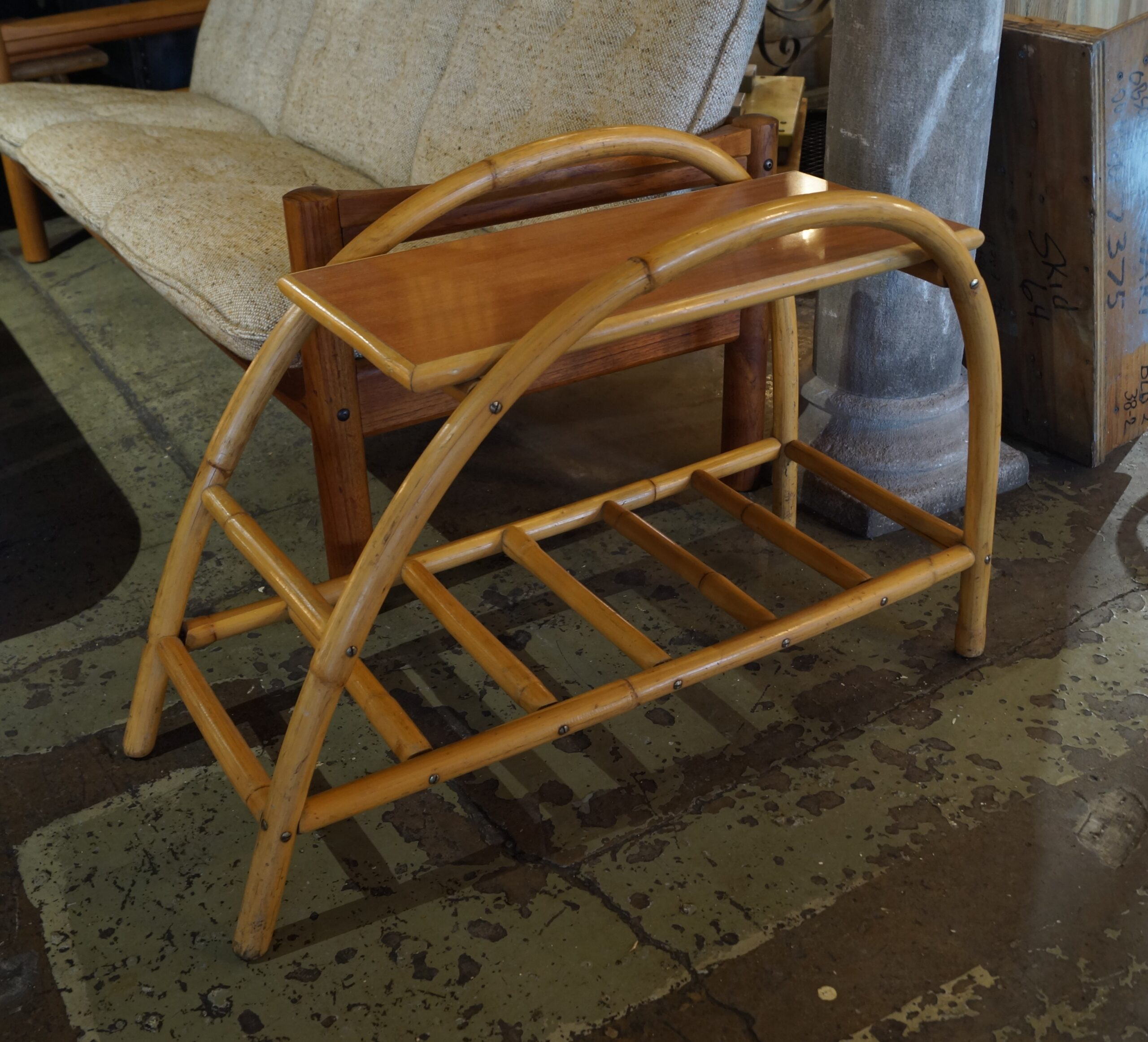 Vintage Rattan Curved Side Table Salvage One
