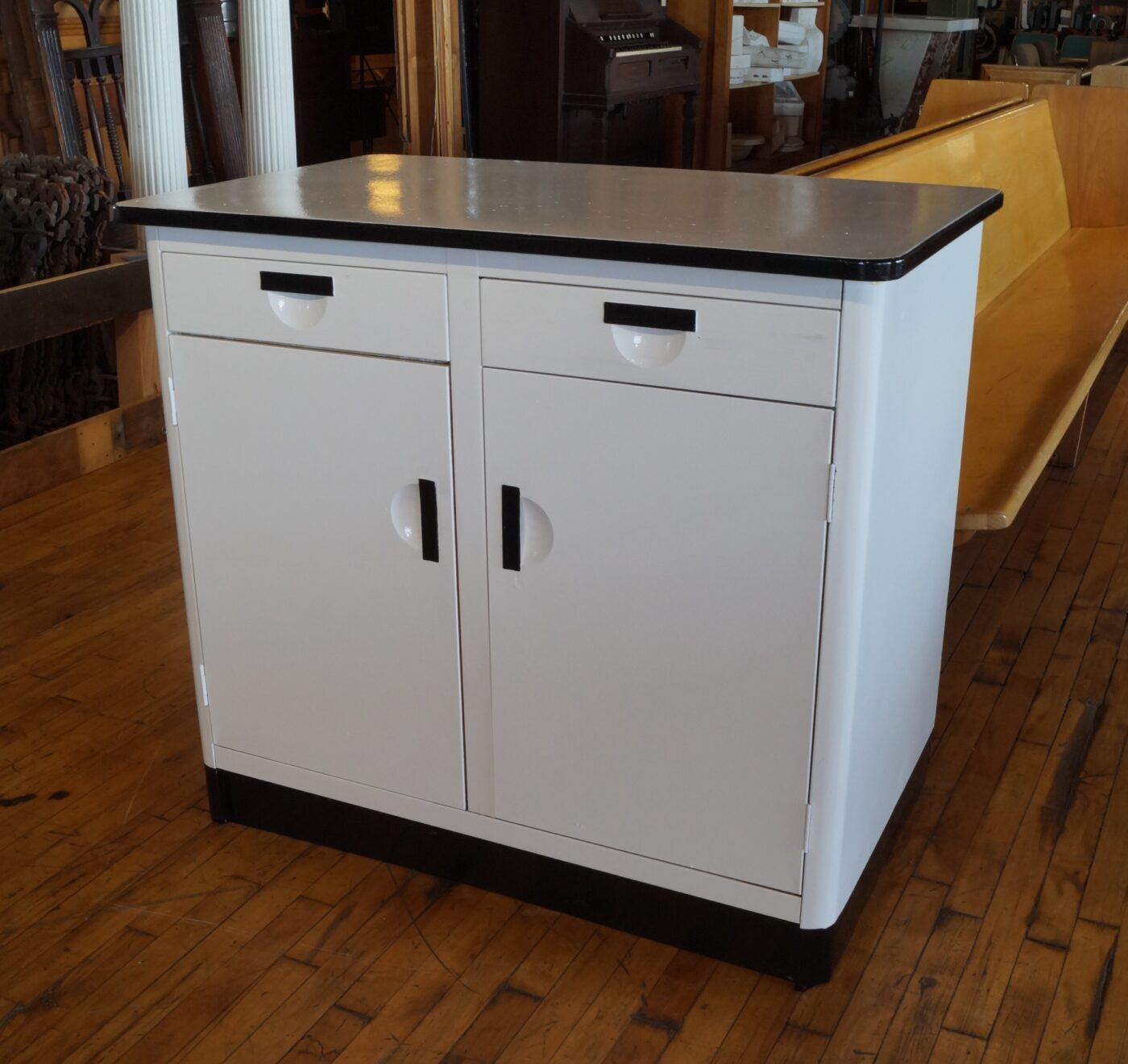 Vintage Black and White Metal Kitchen Cabinet - Salvage One